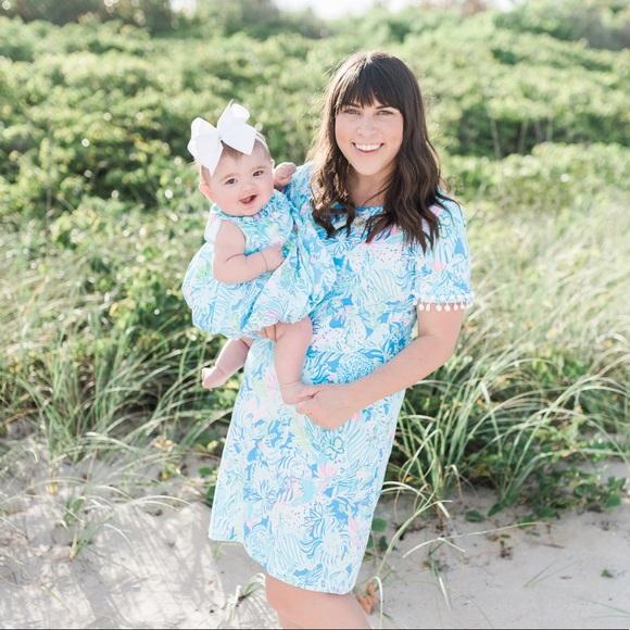 Lilly Pulitzer NWT Baby Britta Shift Dress Coastal Blue Lion Around $58